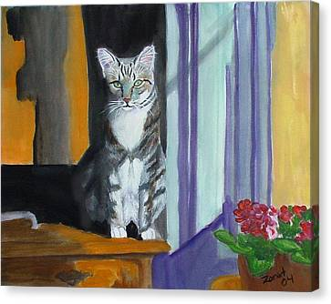 Cat In Window Canvas Print by Mary Jo Zorad