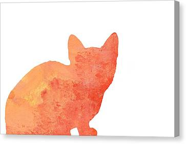 Watercolor Orange Cat Silhouette Canvas Print