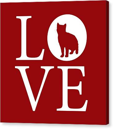 Cat Love Red Canvas Print