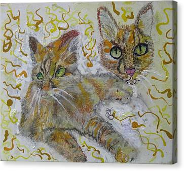 Canvas Print featuring the painting Cat Named Phoenicia by AJ Brown