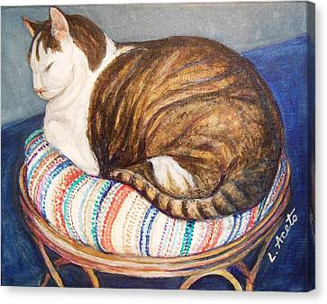 Canvas Print featuring the painting Cat Nap by Laura Aceto