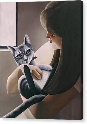 Cat Nestled Canvas Print by Carol Wilson