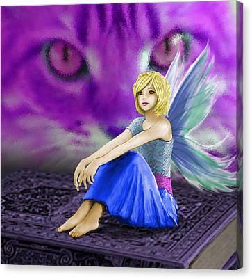 Cat Observes Fairy Canvas Print