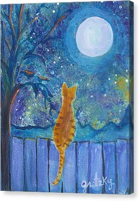 Cat On A Fence In The Moonlight Canvas Print by Paintings by Gretzky
