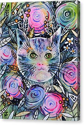 Canvas Print featuring the painting Cat On Flower Bed by Zaira Dzhaubaeva