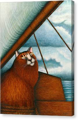 Cat On Sailboat Canvas Print by Carol Wilson