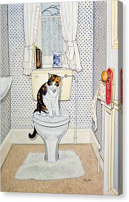 Cat On The Loo Canvas Print by Ditz