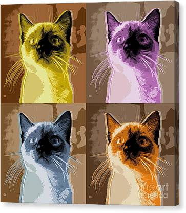 Cat Pop Art Canvas Print by Jean luc Comperat
