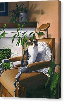 Cat Sitting In Barber Chair Canvas Print by Carol Wilson