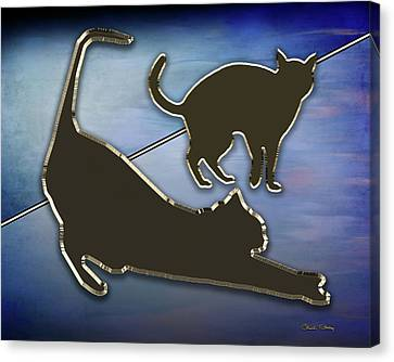 Canvas Print featuring the digital art Cat Stretching  by Chuck Staley