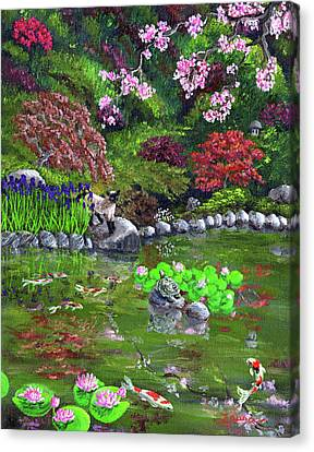 Cat Turtle And Water Lilies Canvas Print by Laura Iverson