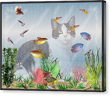 Canvas Print featuring the digital art Cat Watching Fishtank by Terri Mills