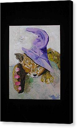 Canvas Print featuring the painting Cat With A Magician's Hat by AJ Brown