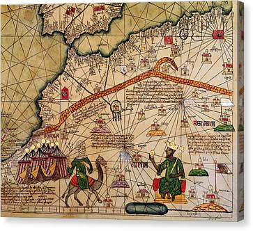 Exploration Canvas Print - Catalan Map Of Europe And North Africa Charles V Of France In 1381  by Abraham Cresques