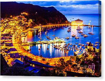 Port Town Canvas Print - Catalina Island Avalon Bay At Night by Paul Velgos