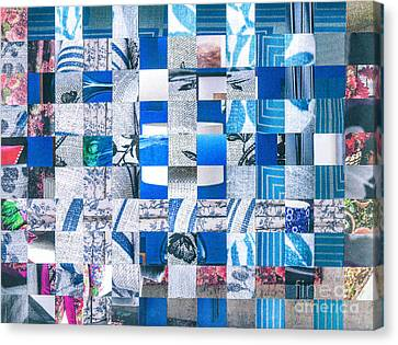 Canvas Print featuring the mixed media Catalogue Blues by Jan Bickerton
