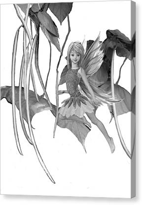 Catalpa Tree Fairy With Seed Pods B And W Canvas Print