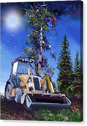 Catapillar And Trees Canvas Print by Brad Burns