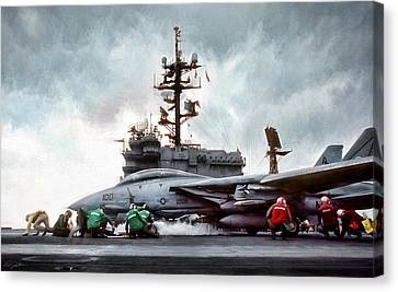 Catapult Crew Canvas Print by Peter Chilelli