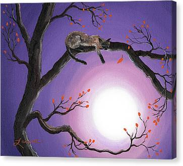 Cat Canvas Print - Catch A Falling Leaf by Laura Iverson