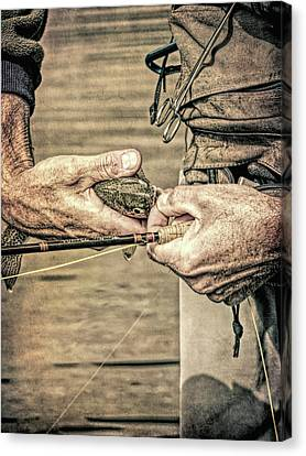 Catch And Release Rainbow Trout Grunge Canvas Print