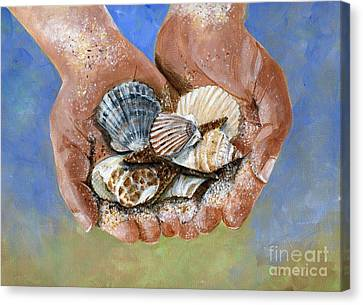 Scallop Shell Canvas Print - Catch Of The Day by Sheryl Heatherly Hawkins