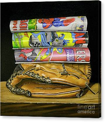 Baseball Glove Canvas Print - Catch The Hero by Vic Vicini