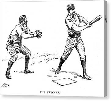 Catcher & Batter, 1889 Canvas Print by Granger