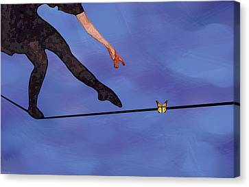 Canvas Print featuring the painting Catching Butterflies by Steve Karol