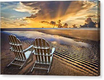 Adirondack Chairs On The Beach Canvas Print - Catching The Dawn by Debra and Dave Vanderlaan