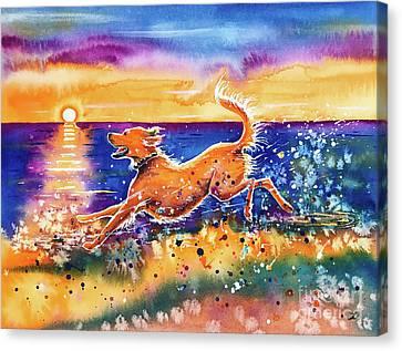 Canvas Print featuring the painting Catching The Sun by Zaira Dzhaubaeva