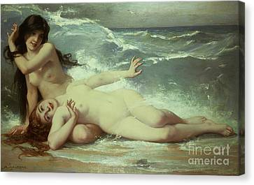 Woman Nude Canvas Print - Catching Waves  by Paul Albert Laurens