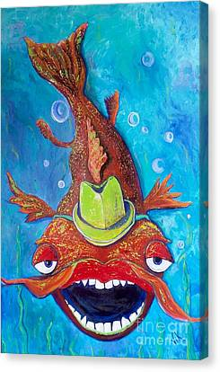 Canvas Print featuring the painting Catfish Clyde by Vickie Scarlett-Fisher