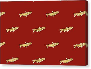 Catfish Pattern And Red Background Canvas Print by Janice Knauss