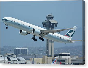 Cathay Pacific Boeing 777-367er B-kph Los Angeles International Airport May 3 2016 Canvas Print by Brian Lockett
