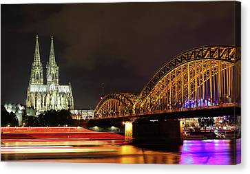 Cathedral, Bridge And Boat In Cologne Canvas Print by Holger Ostwald