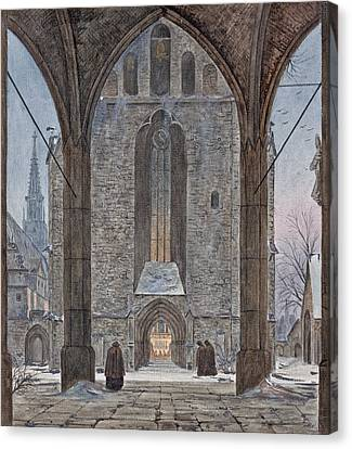Cathedral In Winter Canvas Print by Ernst Ferdinand Oehme