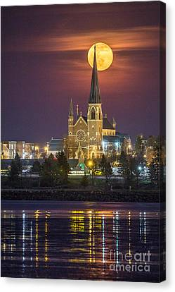 Cathedral Of The Immaculate Conception With Full Moon Canvas Print