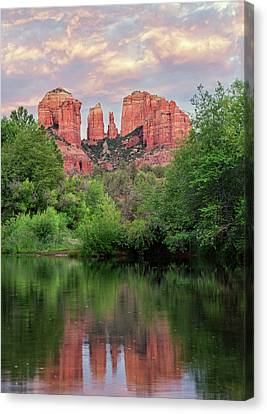 Cathedral Rock Reflected In Oak Creek Canvas Print by Loree Johnson