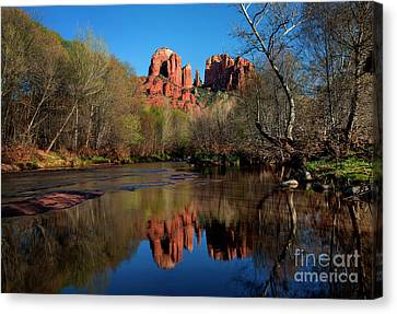 Cathedral Rock Reflection In Oak Creek Canvas Print