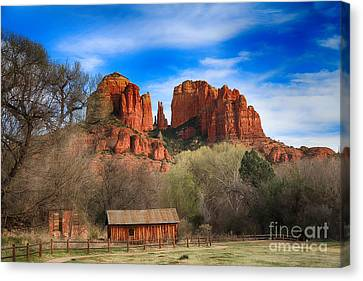 Cathedral Rock And Barn Canvas Print