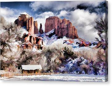Cathedral Rock White Blanket - Digital Art Canvas Print