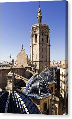 Cathedral Valencia Micalet Tower Canvas Print by For Ninety One Days