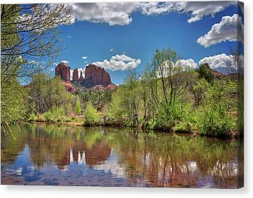 Catherdral Rock And Reflection- Sedona Canvas Print by Jennifer Rondinelli Reilly - Fine Art Photography