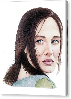 Canvas Print featuring the drawing Catherine Mccormack  by Danielle R T Haney
