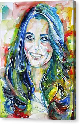 Catherine,duchess Of Cambridge - Watercolor Portrait.4 Canvas Print by Fabrizio Cassetta
