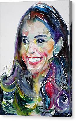 Catherine,duchess Of Cambridge - Watercolor Portrait.5 Canvas Print by Fabrizio Cassetta