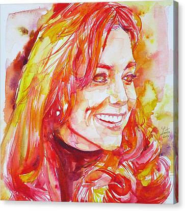 Catherine,duchess Of Cambridge - Watercolor Portrait.6 Canvas Print by Fabrizio Cassetta