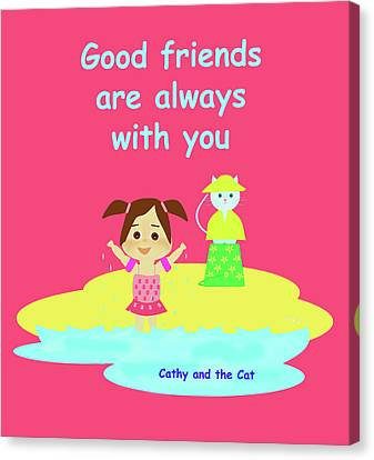 Cathy And The Cat Friends Are With You Canvas Print by Laura Greco