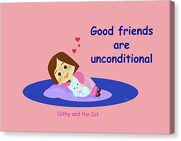 Cathy And The Cat Good Friends Are Unconditional Canvas Print by Laura Greco